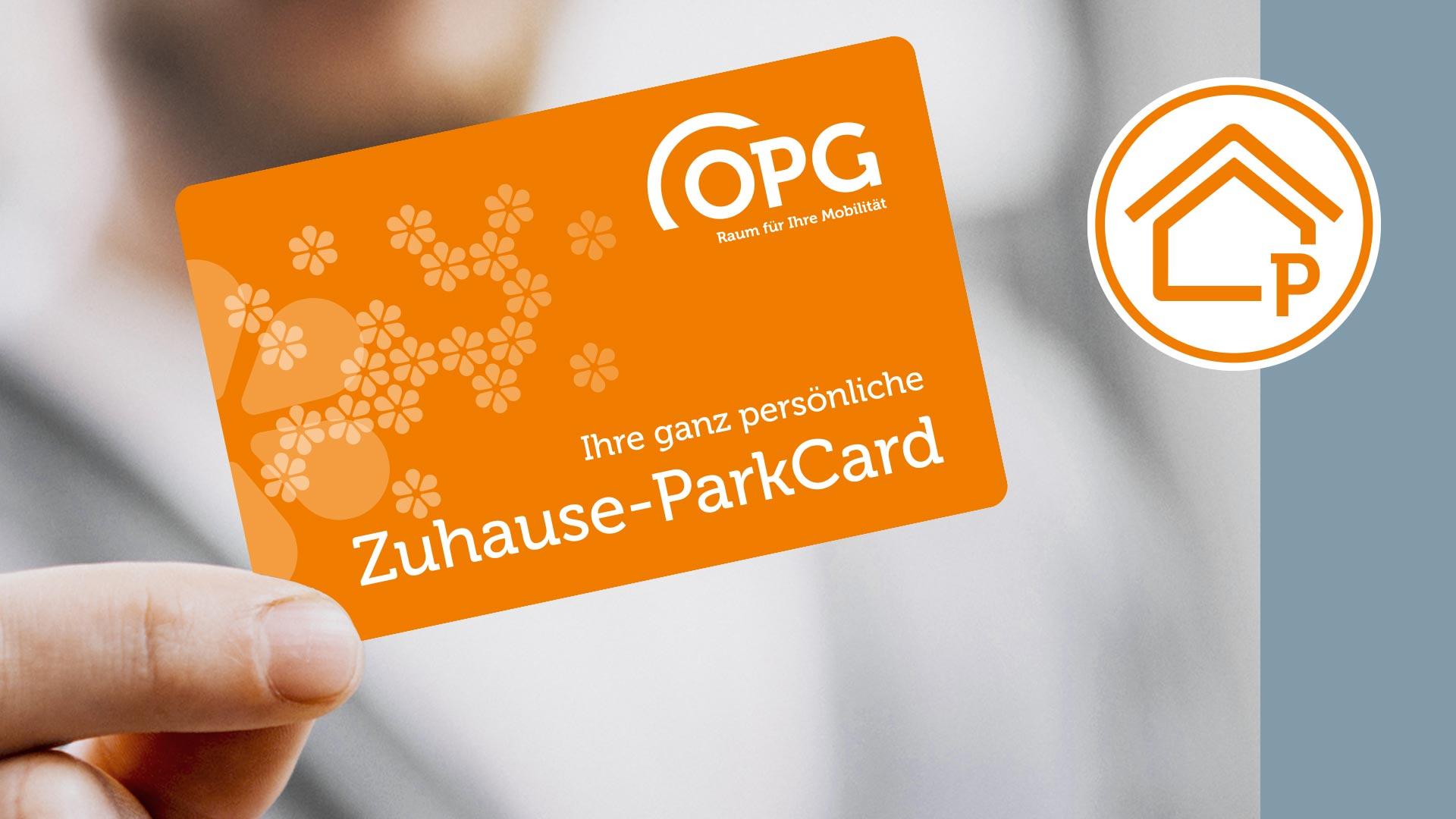 Die orangefarbene OPG Zuhause-ParkCard: Mit ihr parken Kunden sicher und bequem zum Feierabend, am Wochenende und allen Feiertagen