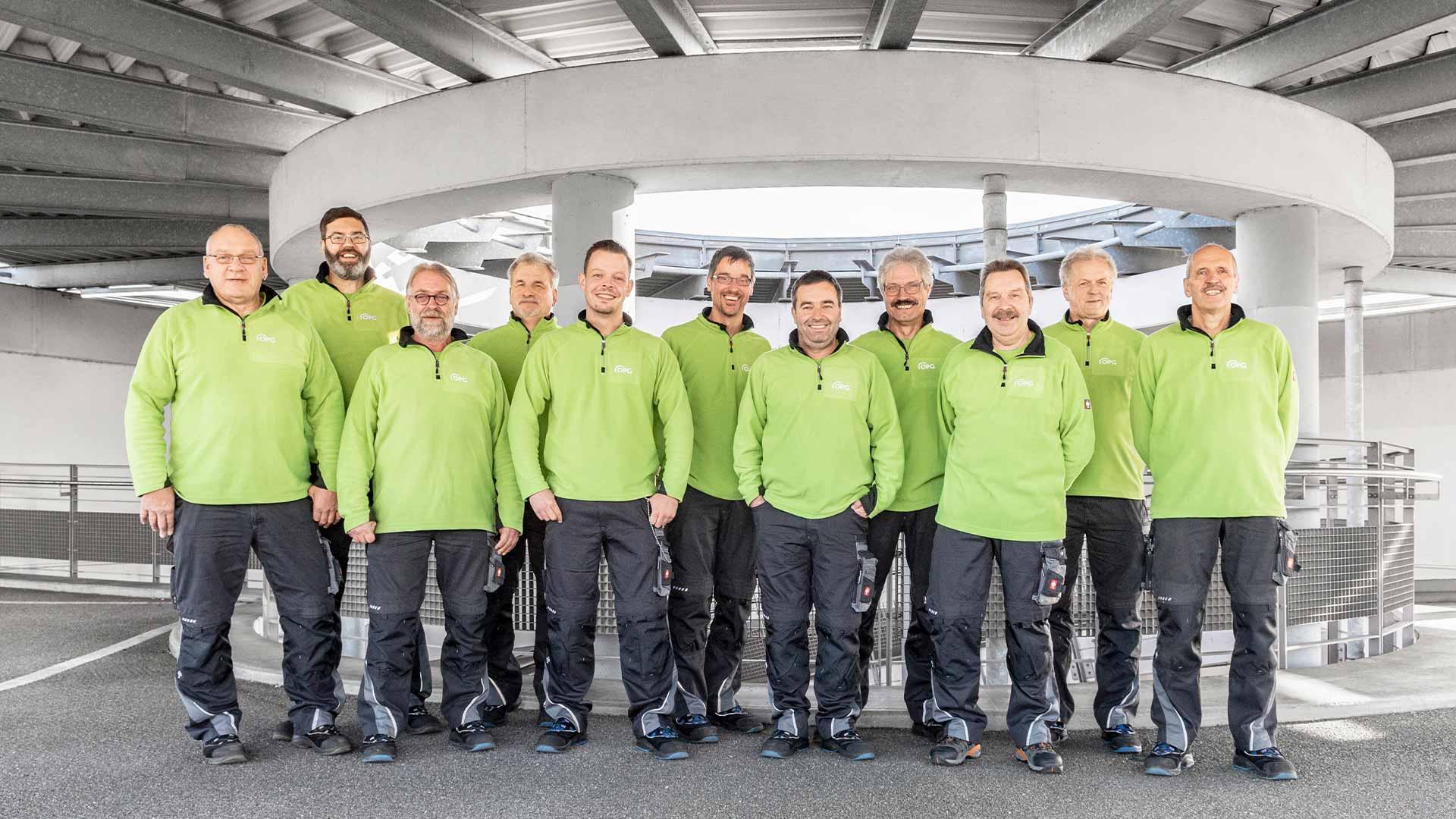 Das Team Technik der Osnabrücker Parkstätten-Betriebsgesellschaft